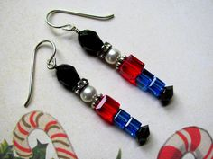 Toy Soldier Earrings - Holiday Earrings Swarovski Crystals Rhinestone Rondelles. $18.00, via Etsy.