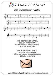 Jede, jede poštovský panáček Sheet Music, Music Sheets