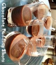 A recipe for chocolate pudding shots (like jello shots but with pudding!) made with chocolate pudding, Baileys, vodka, and milk. Dangerously yummy!