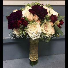 Bridal bouquet with mix of beautiful burgundy dahlias complemented with ivory roses and blush spray roses. Ivory Roses, Spray Roses, Special Events, Floral Design, Floral Wreath, Wreaths, Dahlias, Bridal Bouquets, Dahlia