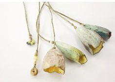 Artisan Ceramic Porcelain Beads pods leaves blues
