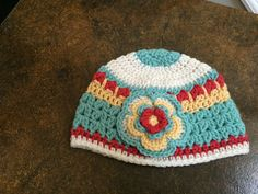 Crochet Candy Colored Beanie . Toddler Crochet Hat . by lisaswick