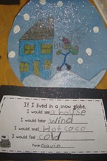 Fun with glitter on the Snow Globe. Love integrating writing and art.