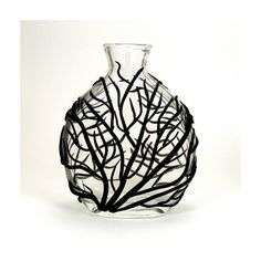 Black Sea Fan Glass Vase - Surge  /  Gift under 35, Clay, Home Decor, Ocean, Coral, Waves, Surge, Bud Vase