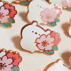 Cerabear hugging a Cherry Blossom / Flower pin / pink badge / Bag Pins, Cherry Blossom Flowers, Badge Design, Cool Pins, Metal Pins, Pin And Patches, Stickers, Pin Badges, Lapel Pins