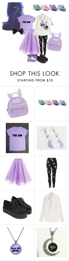 """kawaii Pastel goth"" by eliemoe ❤ liked on Polyvore featuring cutekawaii, WearAll, Valentino, Converse, purple, Dark, pastelgoth, alternative and CreepyCute"