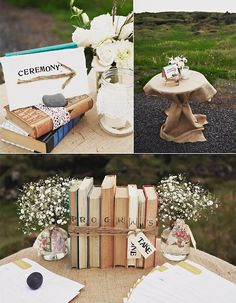problemsolver:  sixohthree:  Real wedding: Christina + Mark « 100 Layer Cake   Such lovely ideas (and photos) here. You don't have to be in the midst of planning a wedding to admire the ways in which this couple and their wedding planner reused books, Scrabble tiles, and luggage.