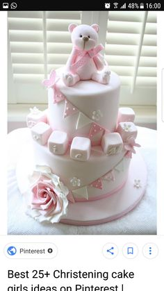 Pink teddy birthday or christening cake Torta Baby Shower, Baby Girl Cakes, Baby Birthday Cakes, Christening Cake Girls, Decors Pate A Sucre, Patisserie Fine, Teddy Bear Cakes, Bolo Cake, Cute Cakes