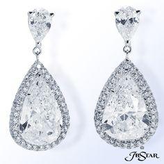 JB Star Pear Shaped Diamond Drop Earrings