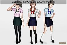 Sims 3 Anime Finds: Summer School Uniform by YS3 Studio