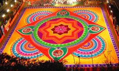 Rangoli also known as Kolam is a folk art from India. Rangoli are decorative designs made on the floors of living rooms and courtyards during Hindu festivals. They are meant to be sacred welcoming areas for the Hindu deities. The ancient symbols have been passed on through the ages, from each generation to the next, thus keeping both the art form and the tradition alive. The patterns are typically created with materials, including colored rice, dry flour,(colored) sand or even flower petals.