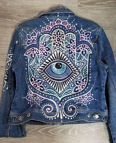 Painted Denim Jacket, Painted Jeans, Painted Clothes, Custom Clothes, Diy Clothes, Denim Fashion, Boho Fashion, Denim Art, Embellished Jeans