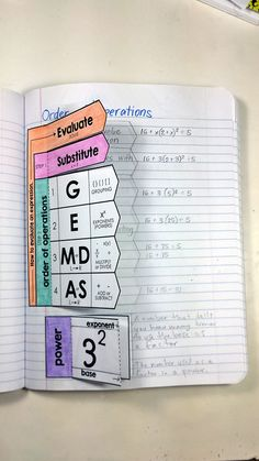 Grade Math Interactive Notebooks for Expressions and Equations Order of operations interactive math notebook activity.Order of operations interactive math notebook activity. Algebra Interactive Notebooks, Math Notebooks, Maths Algebra, Reading Notebooks, Math Vocabulary, Math Fractions, Math Strategies, Math Resources, Math Teacher