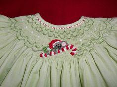 Christmas Smocked Bishop Dress -  - Custom Order Only