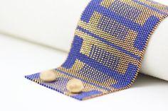 Peyote Pattern Carmela Bracelet in Royal Blue by SabriyeCreative