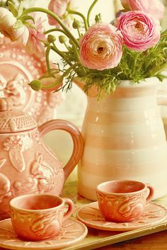 Pretty pale peach tea setting