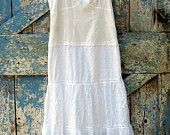 Snow White, So White Sundress/ upcycled romantic boho summer slip dress/ eco friendly white lace sundress