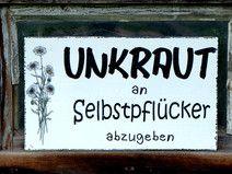 Shabby Vintage Schild GARTEN 9 UNKRAUT HOLZ