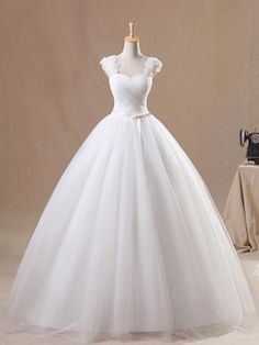 Glamorous White Floral Ball Gown Straps Neckline Sweep Train Tulle Wedding Dress with Bowknot