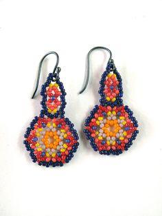 huichol earrings - blue/red/yellow