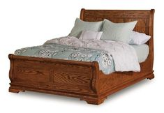 Amish Chippewa Sleigh Bed Curvy and cozy. Old fashioned comfort. Amish made in America in choice of wood and finish.