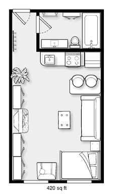 Ideas Kitchen Plan Autocad For 2019 Tiny House Cabin, Tiny House Design, Small House Plans, Studio Floor Plans, Hotel Floor Plan, Cottage Floor Plans, House Floor Plans, Deco Studio, Studio Apartment Layout