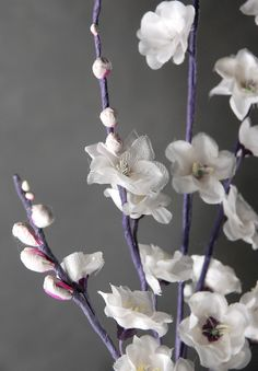 "Vintage White   Cherry Blossoms 30""  Branches   $5.99 each / 3 for $5 each"