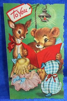 Vintage Unused 1950's EVE ROCKWELL Children's Christmas Card Teddy Reading A1267