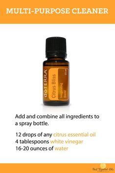 doTERRA Essential Oil DIY Multi-Purpose Cleaner Recipe #EssentialOilBlends