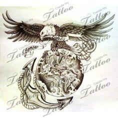 Marketplace Tattoo USMC Eagle, Anchor, Globe #1174 | CreateMyTattoo.com