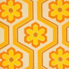 Original Retro Wallpaper With Geometric Pattern In Orange And Yellow