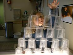 """More fun, building with cups, at Children's Garden of Learning ("""",)"""
