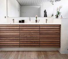 M-line badeværelse - rene linjer i massiv træ   Tvis Køkkener New Kitchen, Kitchen Decor, Ikea Sinks, Shower Lighting, Scandinavian Style Home, Hemnes, Interior Design Inspiration, Cool Kitchens, Double Vanity