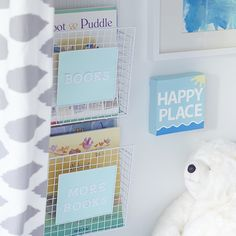Turn a magazine rack into an adorable book holder for all your child's favourite books.