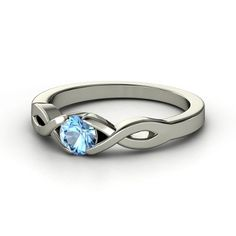 Round Blue Topaz Sterling Silver Ring | Two Paths Solitaire Ring | Gemvara