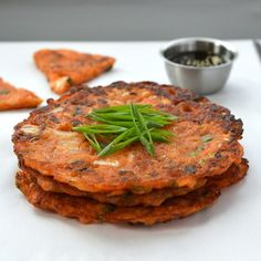 Kimchi pancakes, or kimchijeon, are crispy, a bit chewy, and full of the umami goodness of Korean-style fermented cabbage. This recipe works especially well with older kimchi that is tangy and full of bold flavor Fermented Cabbage, Fermented Foods, Korean Dishes, Korean Food, Vietnamese Food, Korean Bbq, Vegetarian Recipes, Cooking Recipes, Healthy Recipes