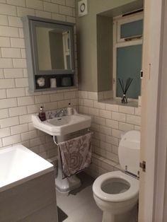 Savoy bathroom with metro tiles and sage green walls Sage Green Walls, Metro Tiles, Basin, Toilet, Bathroom, Future, Image, Washroom, Future Tense