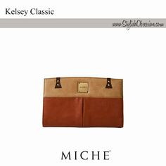 Kelsey Classic Shell / Signature Pricing  Rust faux leather along with complementary latte and cocoa piecing combine to create the smart and chic Kelsey for Classic bags. Contrasting dark brown stitching, brushed antique brass rivet accents and a single deep pleat on the front further burnish her uptown vibe.  Perfectly matches our Braided Handles (espresso). www.FunBagBiz.com