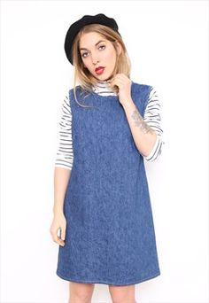 Vintage 90s Blue Denim Cotton Pinafore Dress