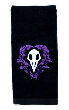 Death Raven Bird Skull Halloween Hand Towel Kitchen and Bath Gothic Home Decor