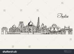 Hand drawn India skyline. Vector illustration