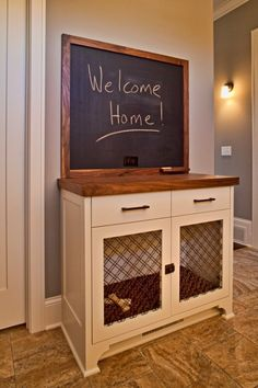 Even though my service dog neither needs or uses a kennel. I am planning on getting another boxer puppy to start training to take over for Mochi when need be. So this would be perfect for a training kennel. 25 Stylish Indoor Dog Houses That Any Pooch W Dog Crate Furniture, Entryway Furniture, Dog Crate Table, Furniture Dog Kennel, Furniture Ideas, Crate Bed, Diy Dog Crate, Diy Dog Bed, Dog Beds