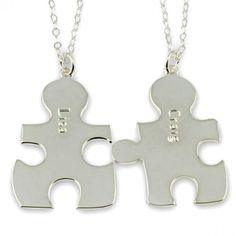 Personalized Puzzle Piece Necklaces in Silver