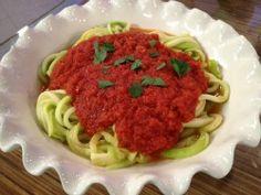 Joy Bauer Zucchini Linguine: zucchini, crushed garlic, onion powder, OVOO and fav sauce.