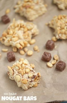 No-Bake Nougat Bars - Prepare for a sticky sweet explosion with this easy no-bake dessert recipe! Only 6 ingredients.