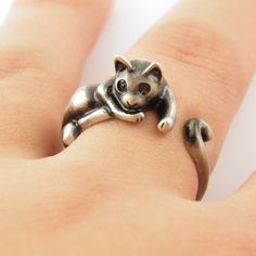 Lazy Cat Animal Wrap Ring - Silver