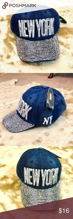 2b4008d7694 New York bling rhinestone denim snapback hat NWT Super blingy disco ball  sequin rhinestone blinged out