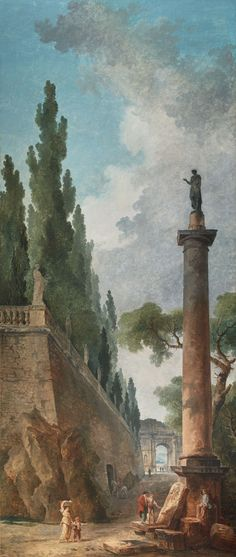 Hubert Robert (1733-1808)  Landscape with Antiques  Oil on canvas 290 x 123.5 cm Signed and dated 'HUBERT / ROBERT / 1795' One of a set of four