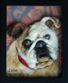Bulldog – Needle/wet Felted Dog Portrait Wall Art