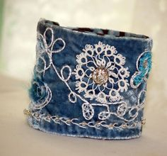 Hand Embroidery Blue Velvet Fabric Cuff Hand by Waterrose on Etsy